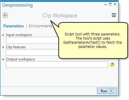Accessing parameters in a script tool—Geoprocessing and