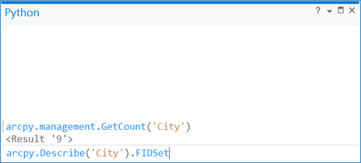 The Python window—ArcPy Get Started | ArcGIS Desktop