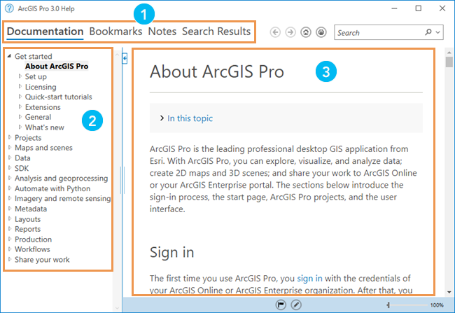 Use the offline help system with a keyboard—ArcGIS Pro