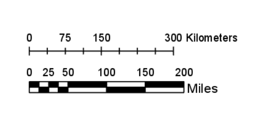 These scale bars shows kilometers and miles.