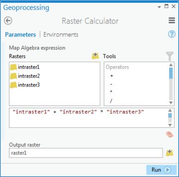 Raster CalculatorHelp ArcGIS Desktop - Run calculator map